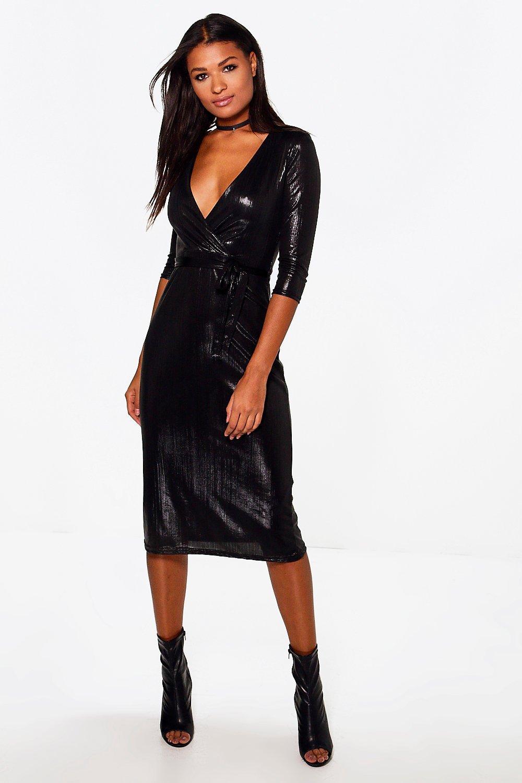 Metallic Wrap Midi Bodycon Dress - black