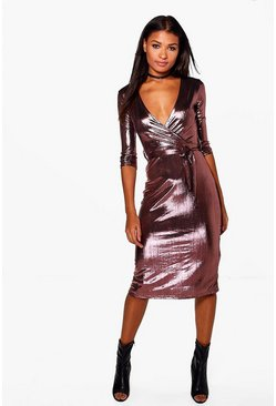 Joss Metallic Wrap Midi Bodycon Dress