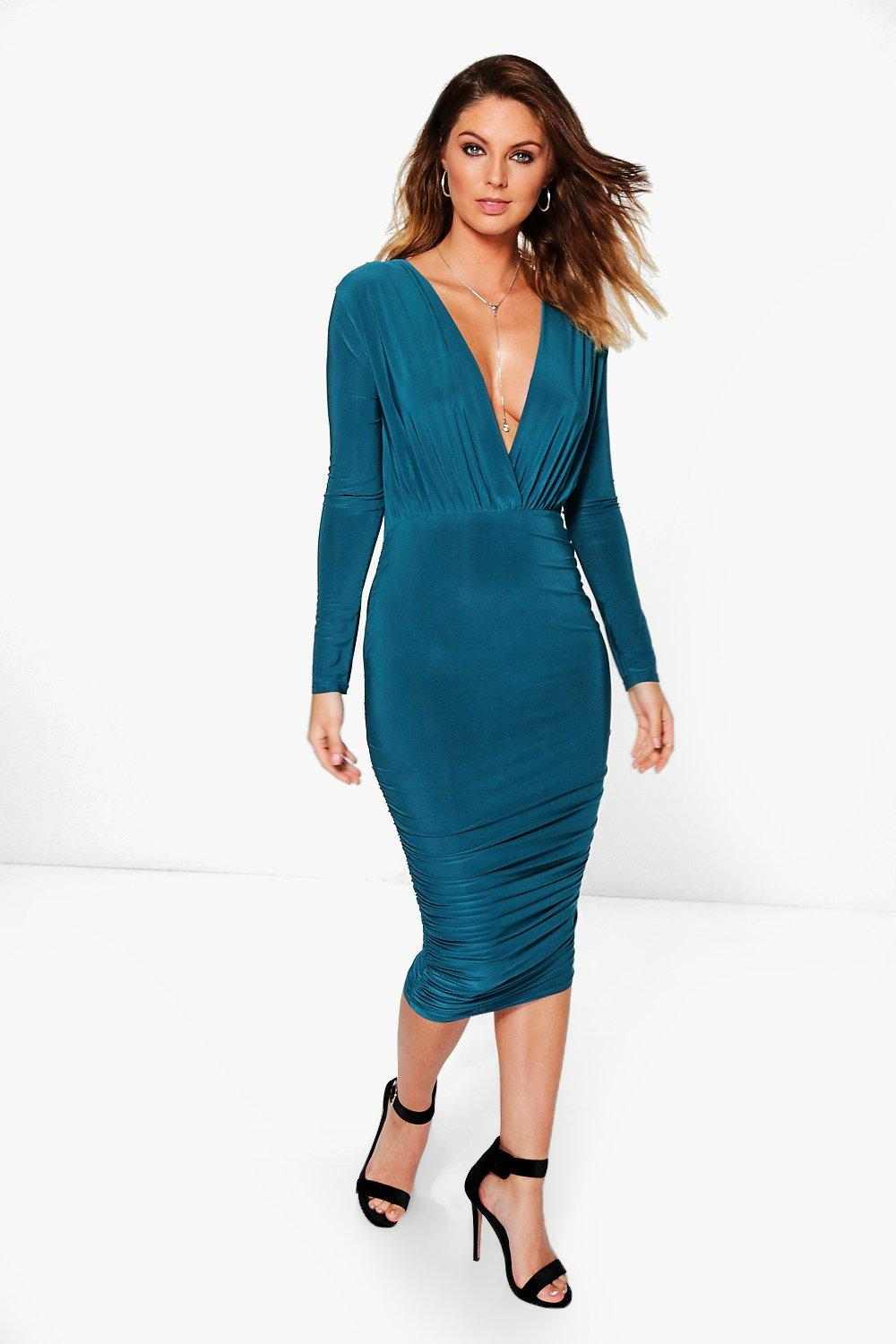 Aria Slinky Ruched Side Wrap Midi Dress