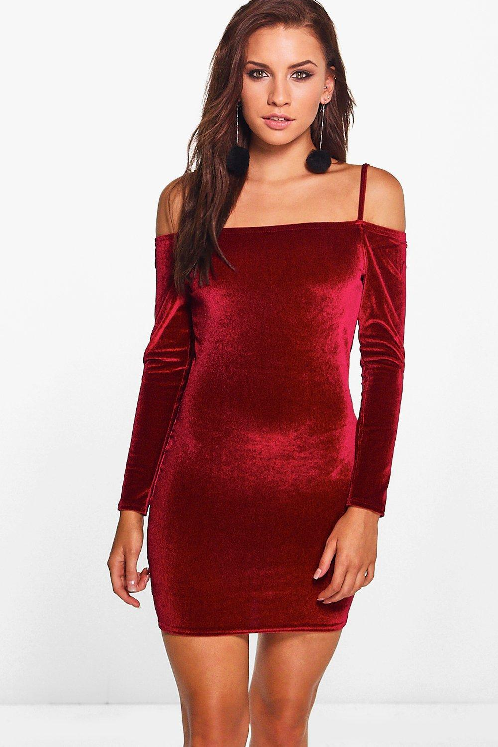 Flossy Velvet Cold Shoulder Bodycon Dress