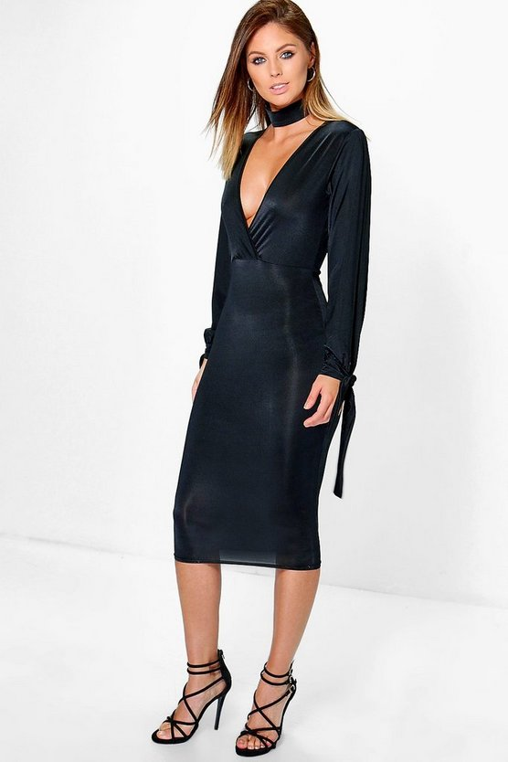 Jane Choker Slinky Split Sleeve Midi Dress