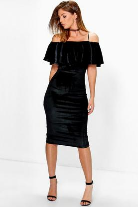 Joss Velvet Off Shoulder Midi Bodycon Dress