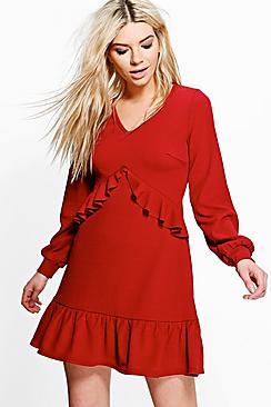 Jian Long Sleeve Ruffle Tea Dress