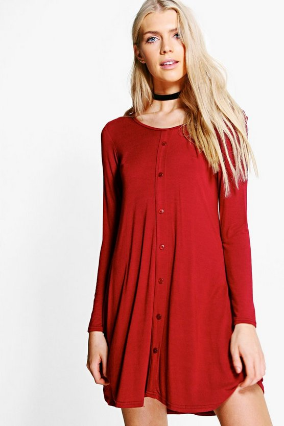 Jess Long Sleeve Button Swing Dress
