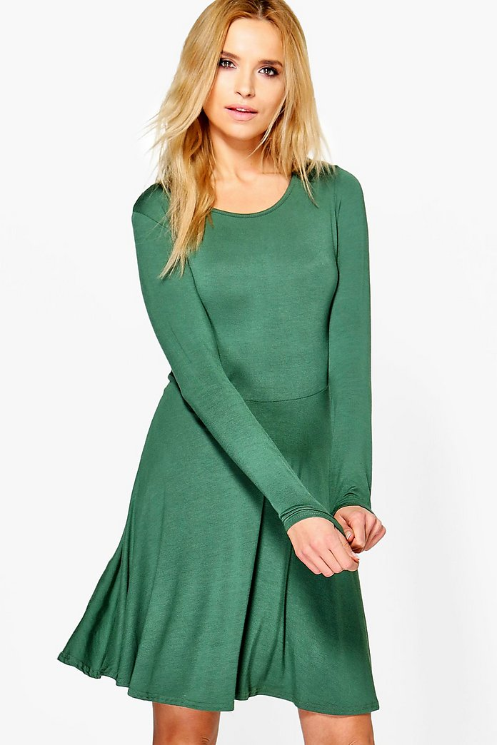 Jade Long Sleeve Skater Dress