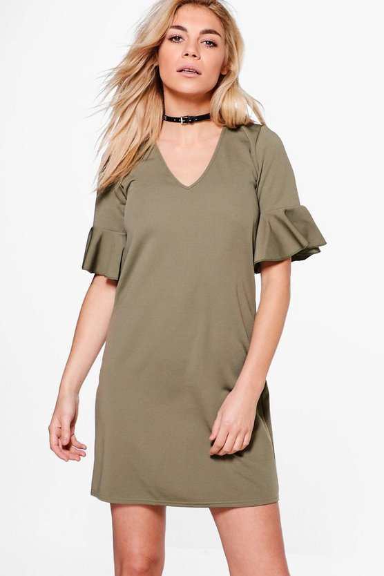 Hana Bell Sleeve Shift Dress