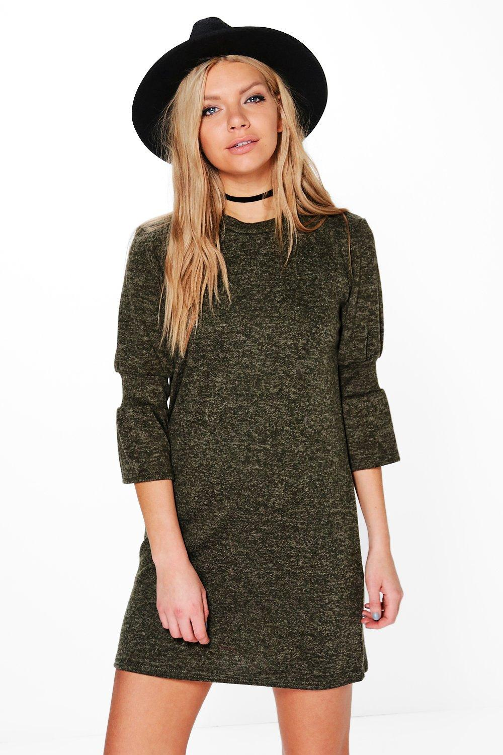 Gigi Brush Knit Bell Sleeve Shift Dress