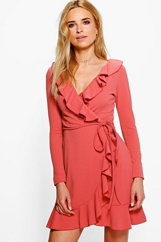 Frey Ruffle Wrap Long Sleeved Tea Dress