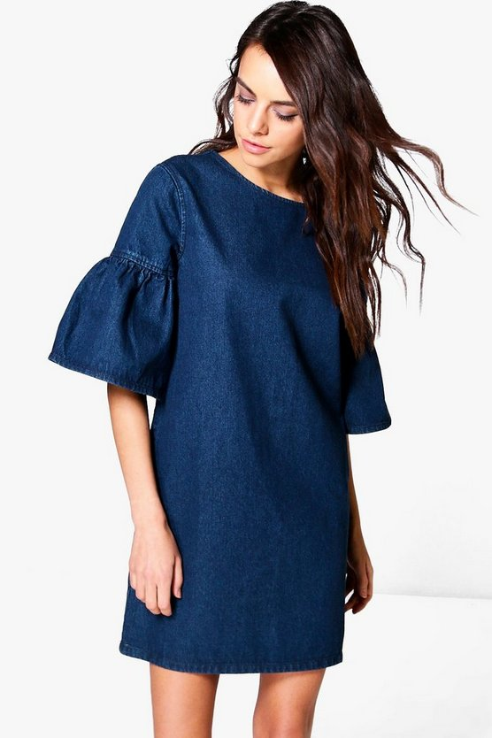 Milly Ruffle Sleeve Denim Dress