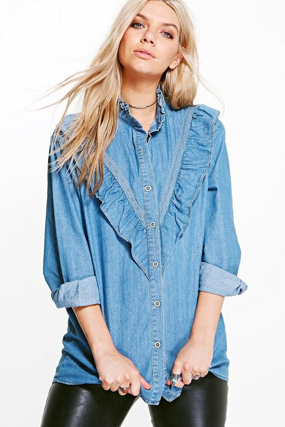 Sarah Frill Detail Slim Fit Denim Shirt