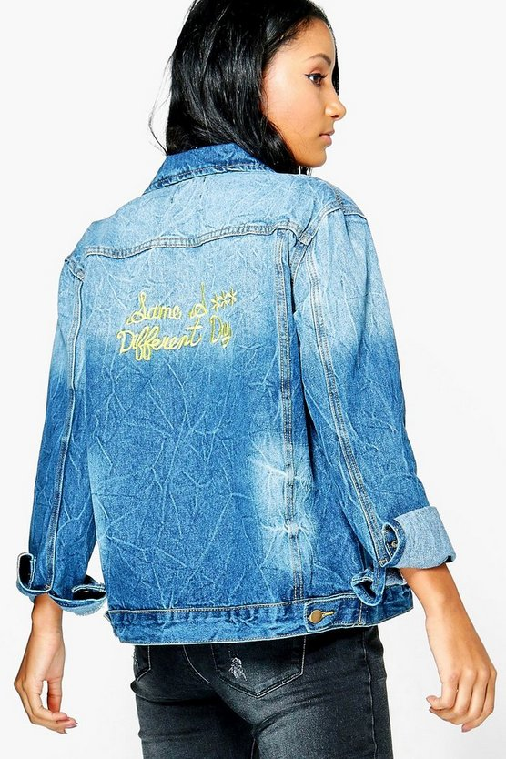 Jodie Oversize Embroidered Slogan Denim Jacket