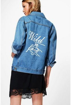 Jodie Oversize Slogan Print Denim Jacket