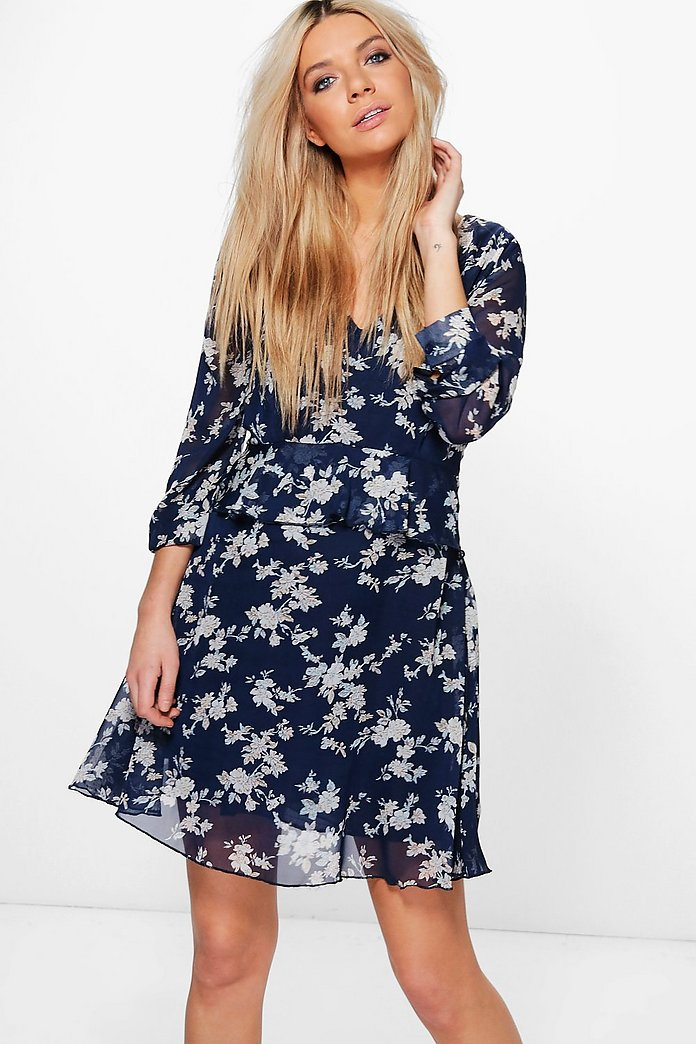 Muriel Floral Ruffle Tea Dress