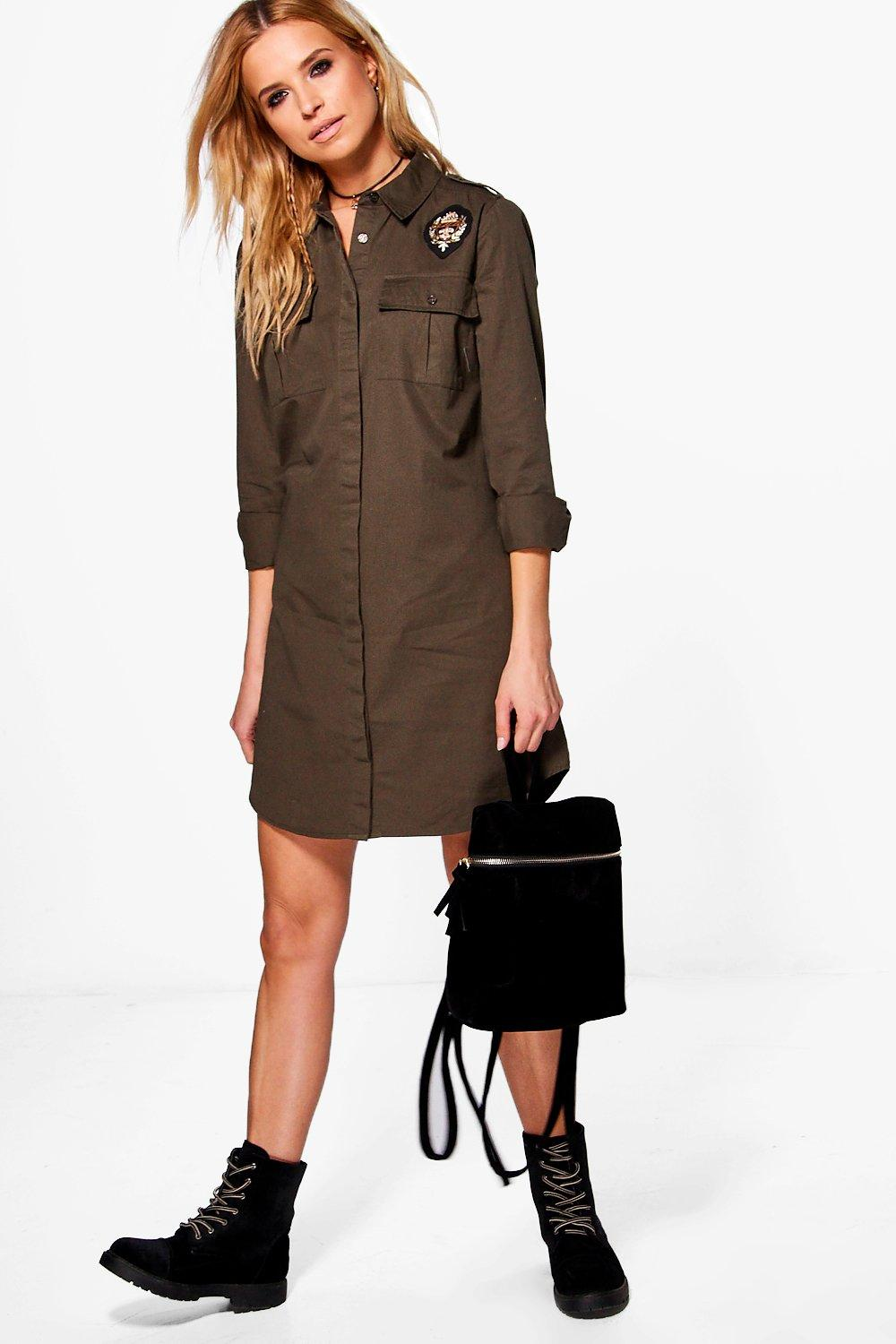 Badge Detail Shirt Dress  khaki