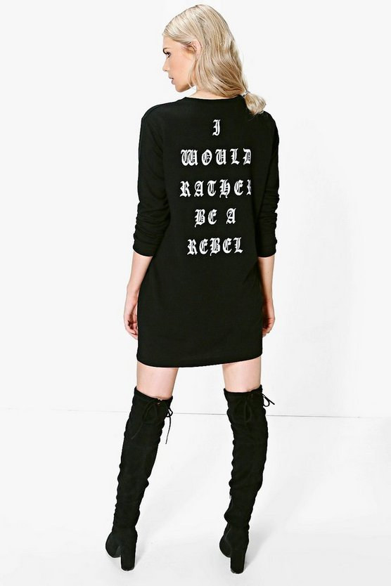 Sara Sweatshirt-Kleid mit Rather-be-a-Rebel-Slogan