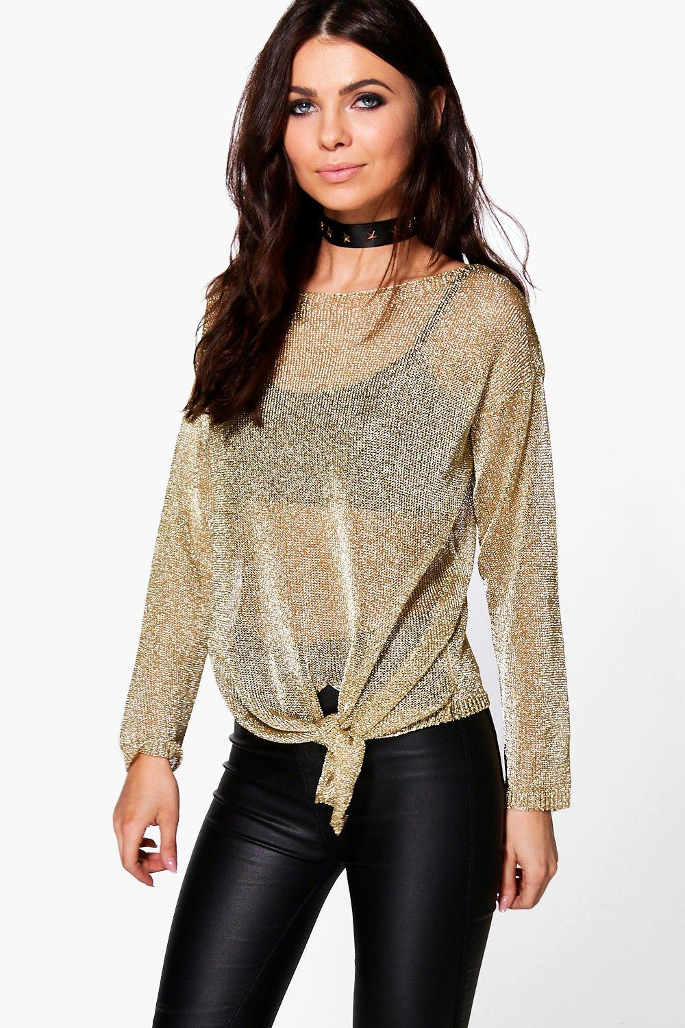 Matilda Metallic Oversize Jumper With Tie Front