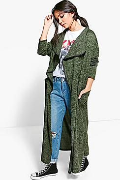 Jasmine PU Trim Maxi Waterfall Cardigan