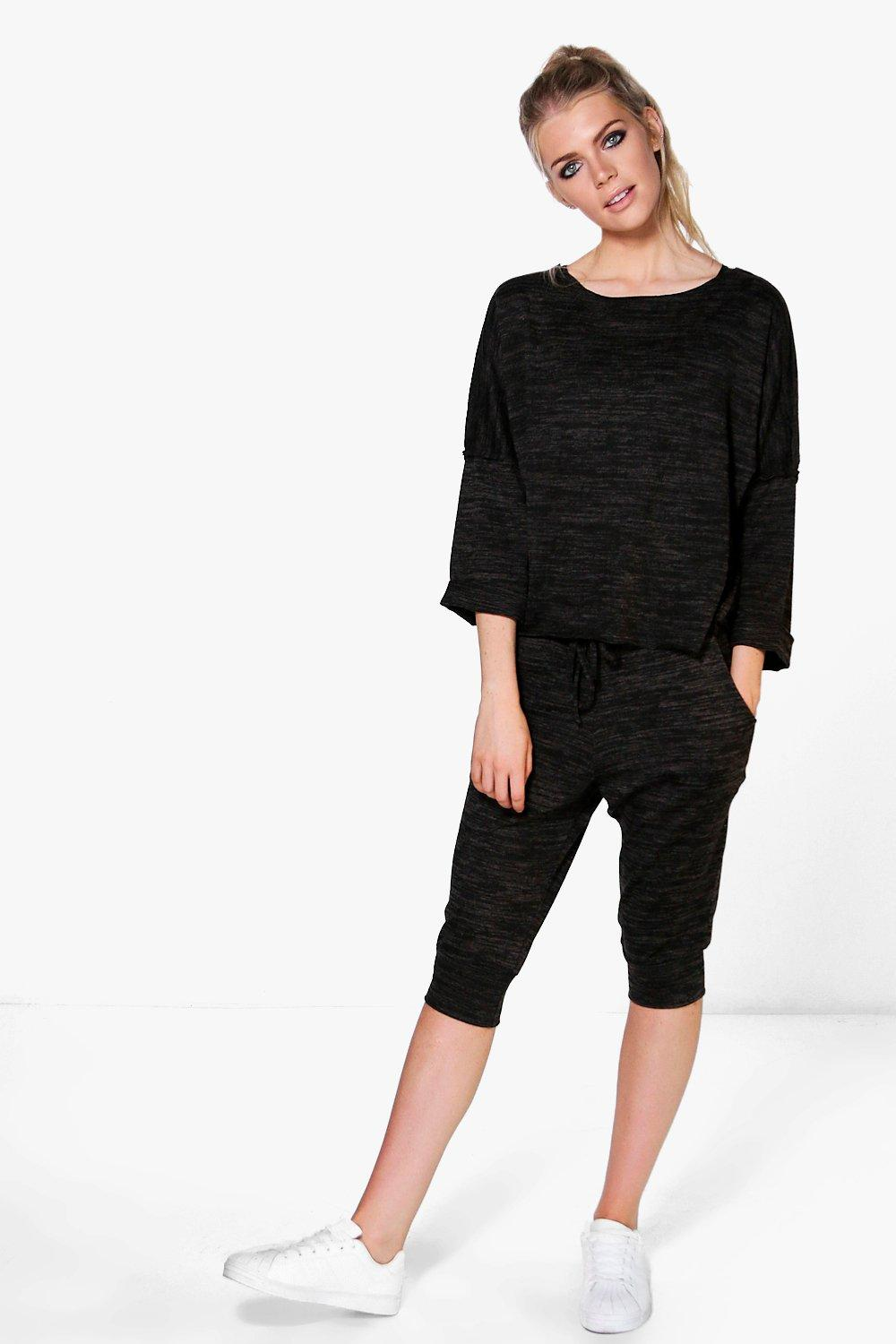 Rebecca Raw Edge Hem Crop Jogger Lounge Set