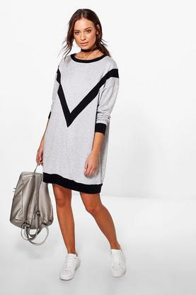 Maddie Contrast Knit Oversized Dress