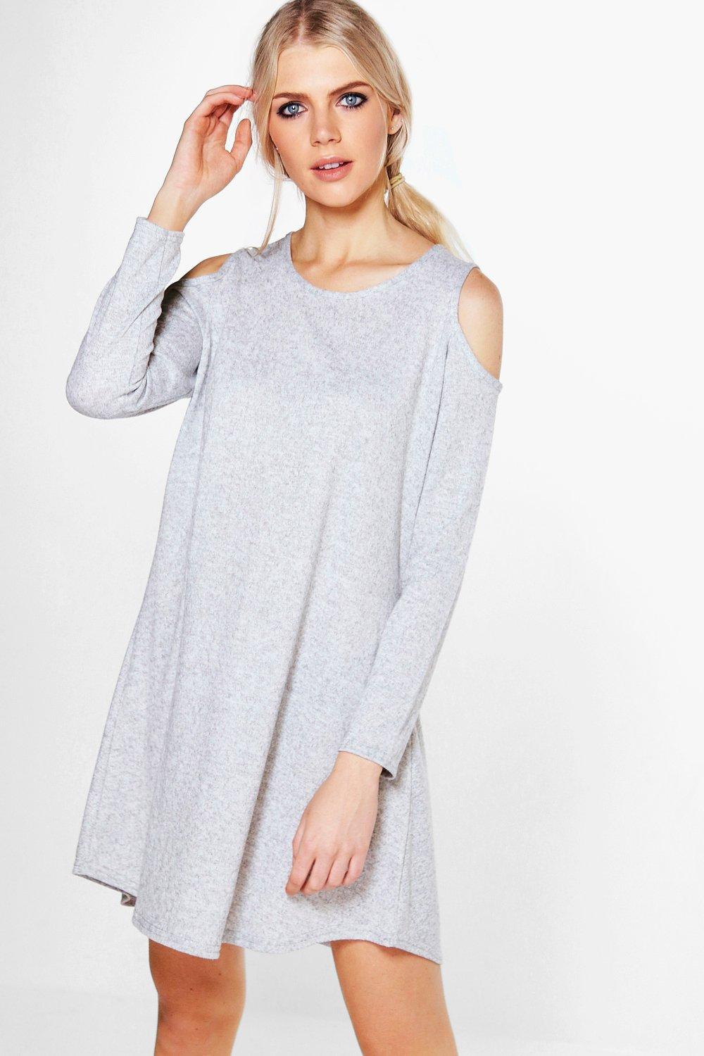 Rachel Soft Marl Cold Shoulder Swing Dress