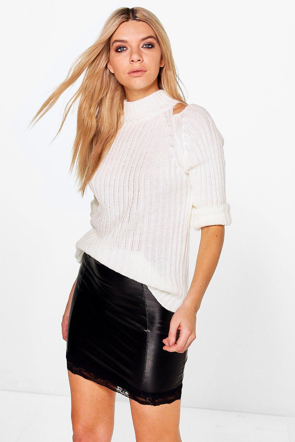 Amelie Rib Knit Cold Shoulder Jumper