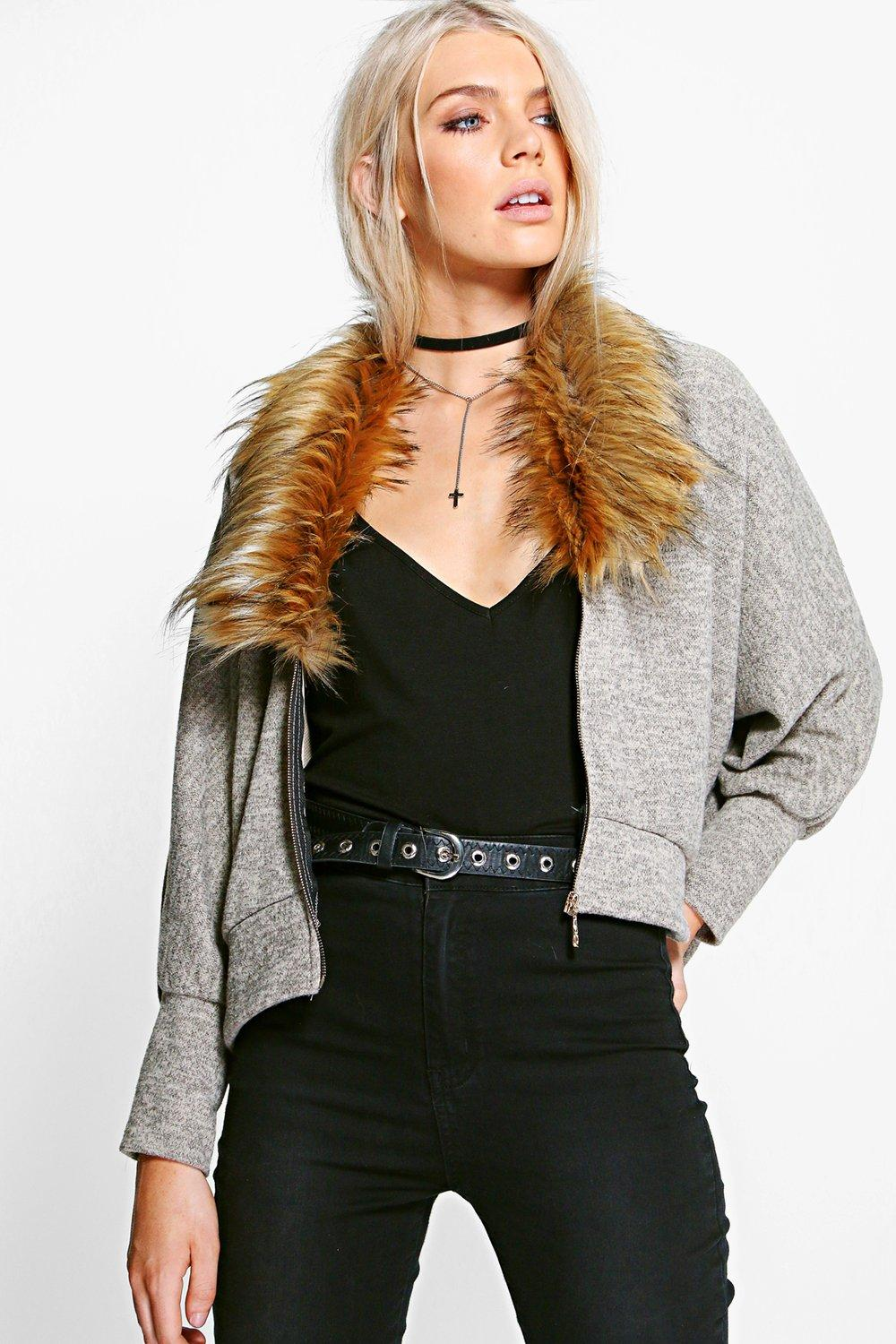 Product photo of Zip up faux fur collar cardigan stone