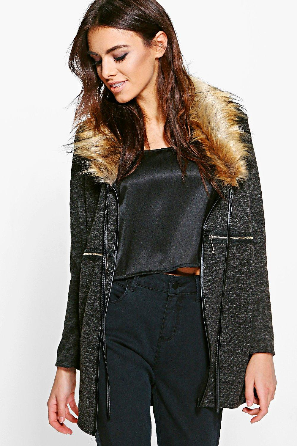 Stella Faux Fur Collar Zip Cardigan