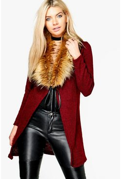 Annabelle Faux Fur Collar Cardigan