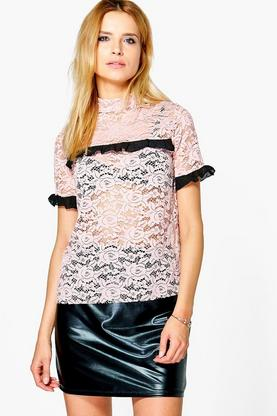 Poppy Premium Lace Ruffle Top