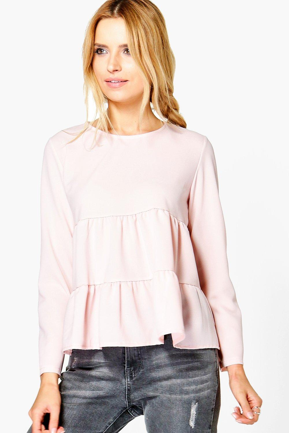 Tiered Woven Blouse  nude