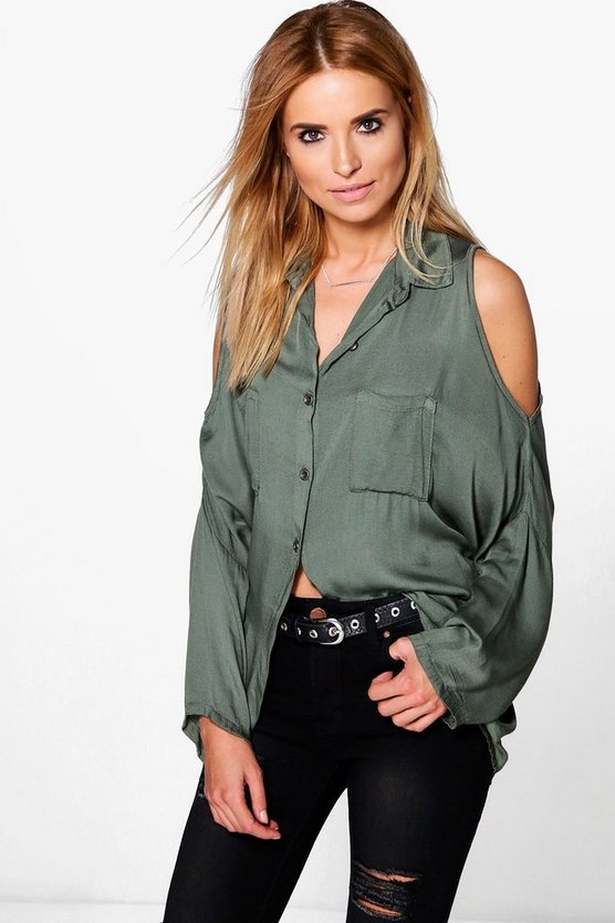 Hannah Cold Shoulder Washed Shirt
