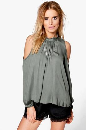 Harriet High Neck Cold Shoulder Top