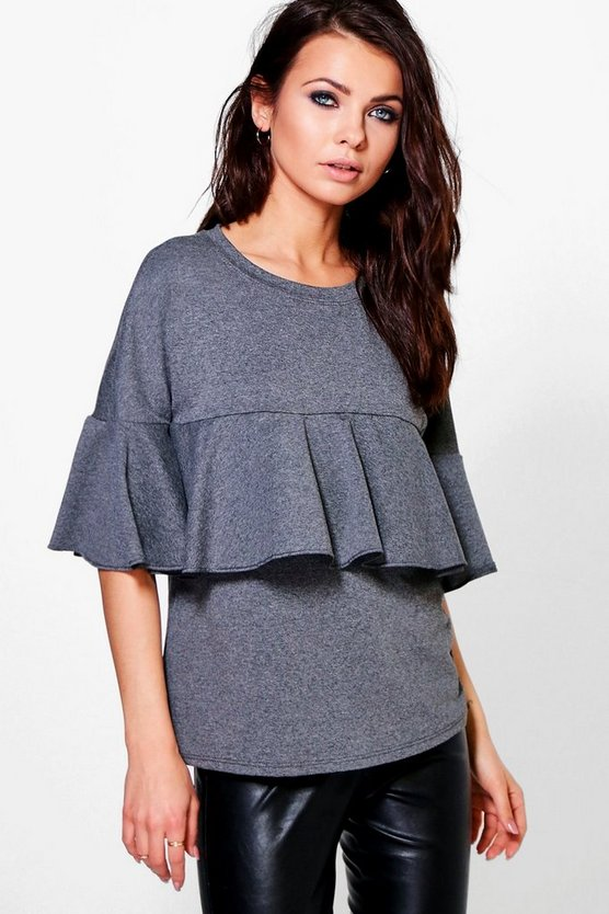 Saskia Ruffle Front Sweat Top