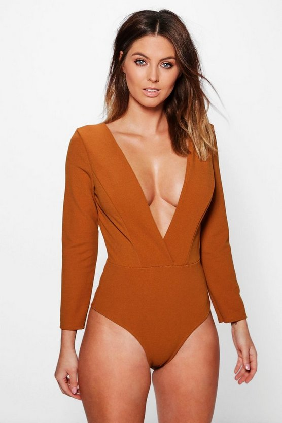 Alicia Plunge Premium Structured Bodysuit