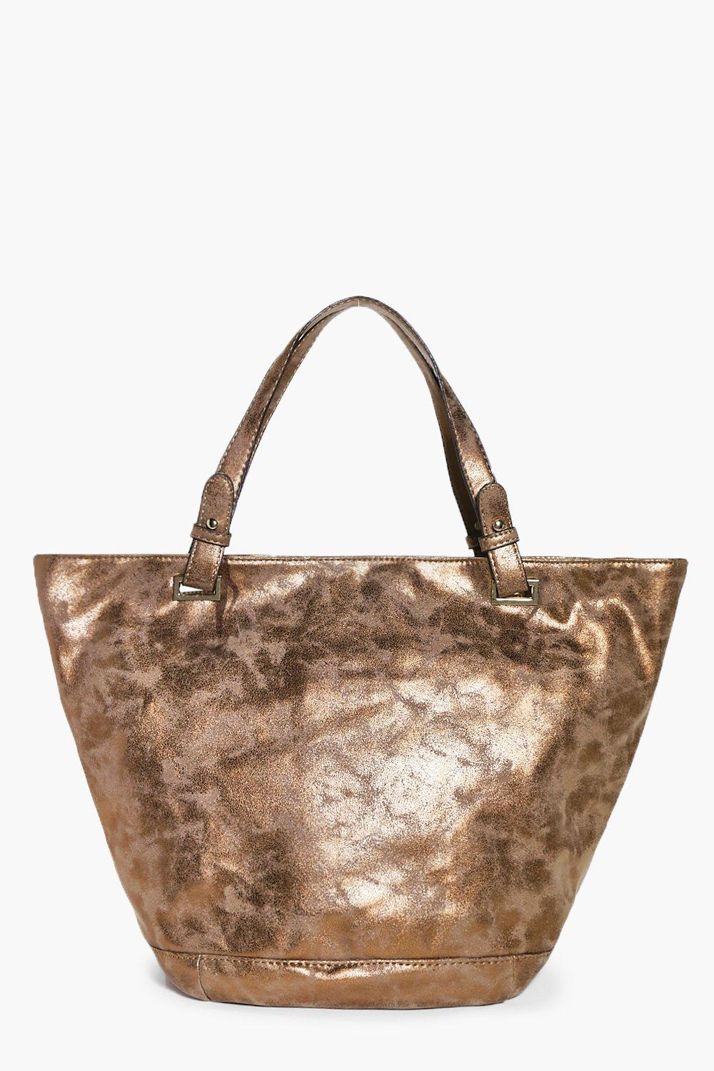 Natasha Beige Metallic Distressed Shopper