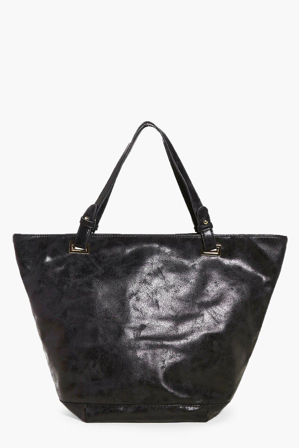 Metallic Distressed Shopper Bag - black - Eloise M