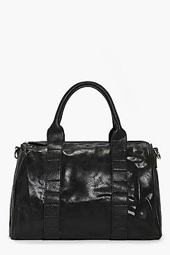 Aaliyah Black Metallic Bowler Bag