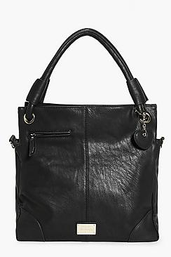 Annabel Black Metal Detail Shoulder Tote