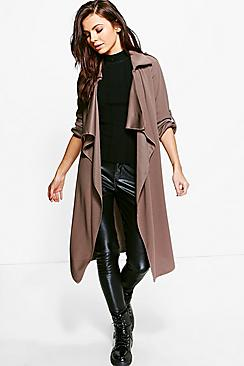 Emma Collared Woven Turn Up Cuff Duster