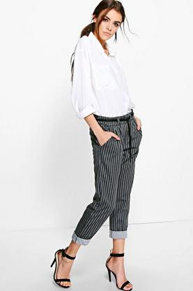Bella Pinstripe Belted Tapered Trousers