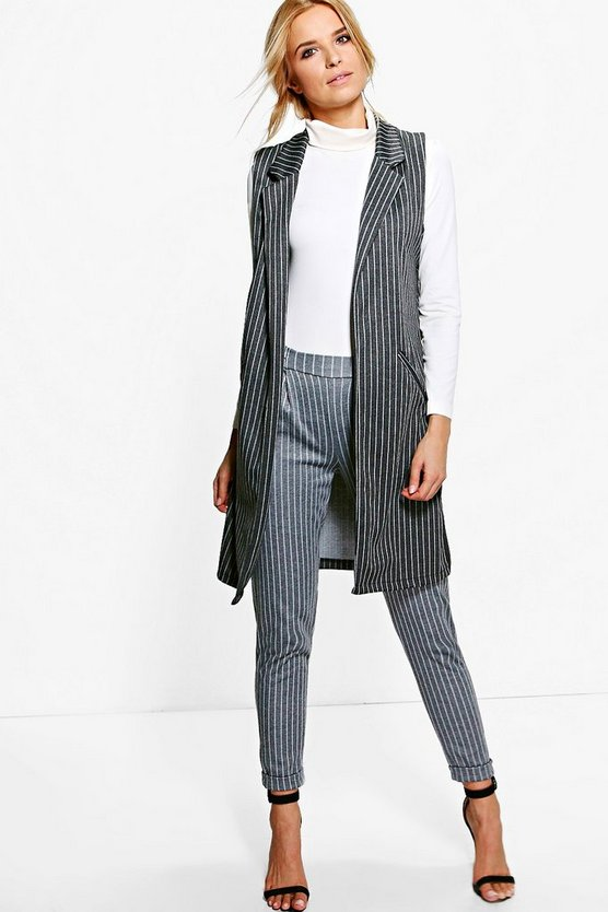 Bella Pinstripe Sleeveless Duster