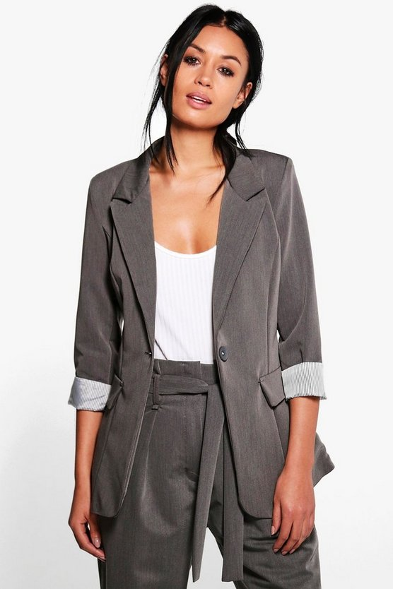 Harriet Turn Up Cuff Tailored Woven Blazer