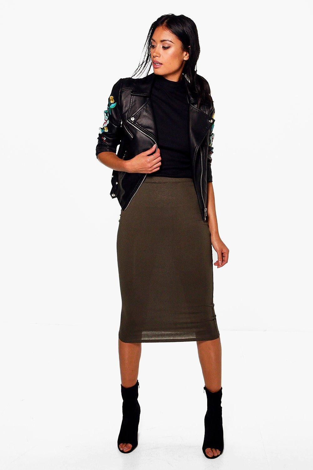 Brea Basic Jersey Viscose Midi Skirt