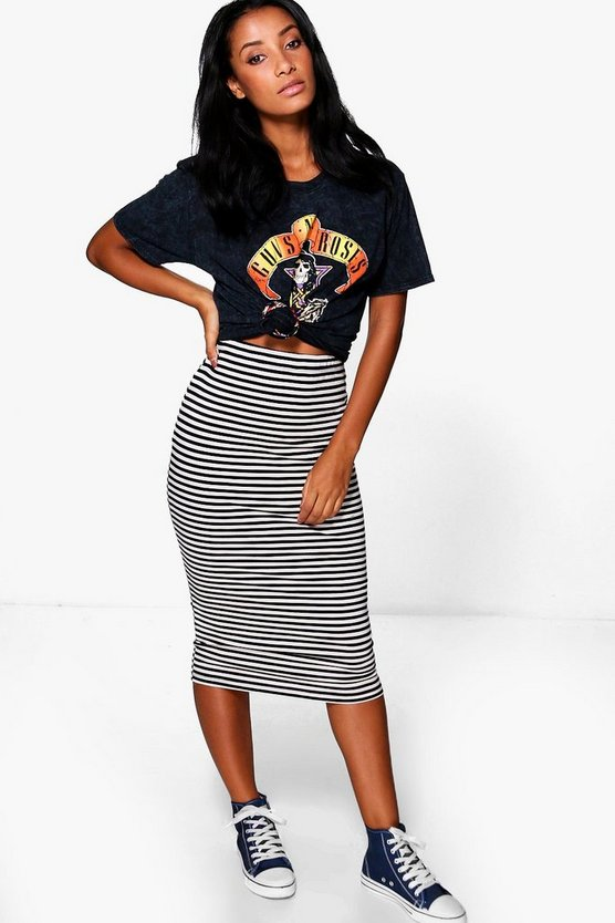 Ana Basic Striped Midi Skirt