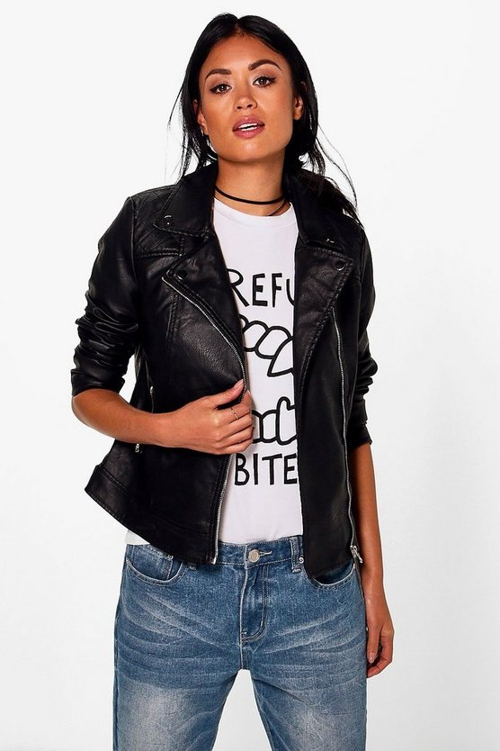 Abigail PU Biker With Quilted Shoulder Detail