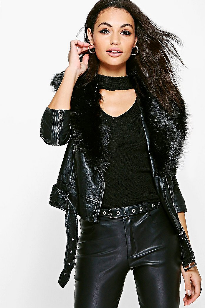 Charlotte Faux Leather Biker With Faux Fur Collar
