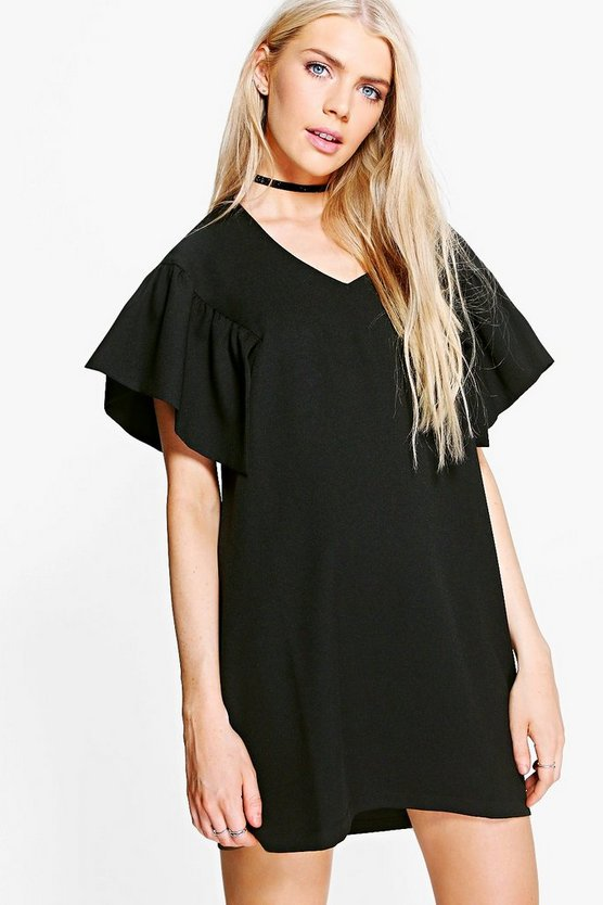 Hadley Ruffle Sleeved Woven Shift Dress