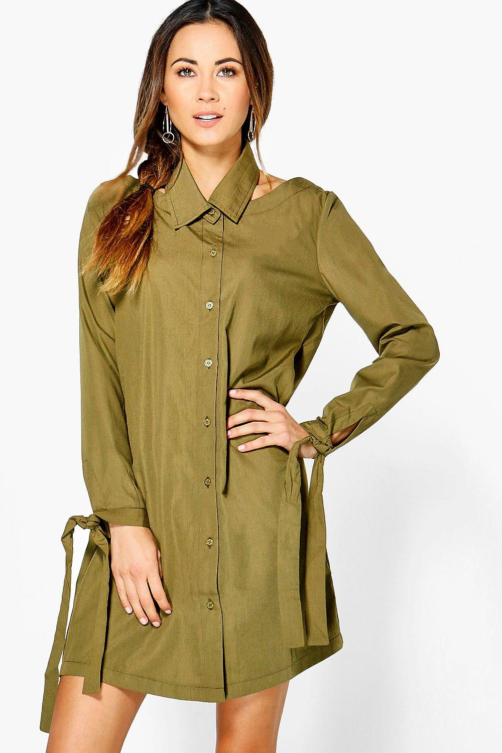 Cut Out Collar Detail Shirt Dress  khaki