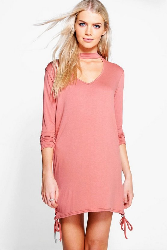 Issy Choker Lace Up Side Detail T-Shirt Dress