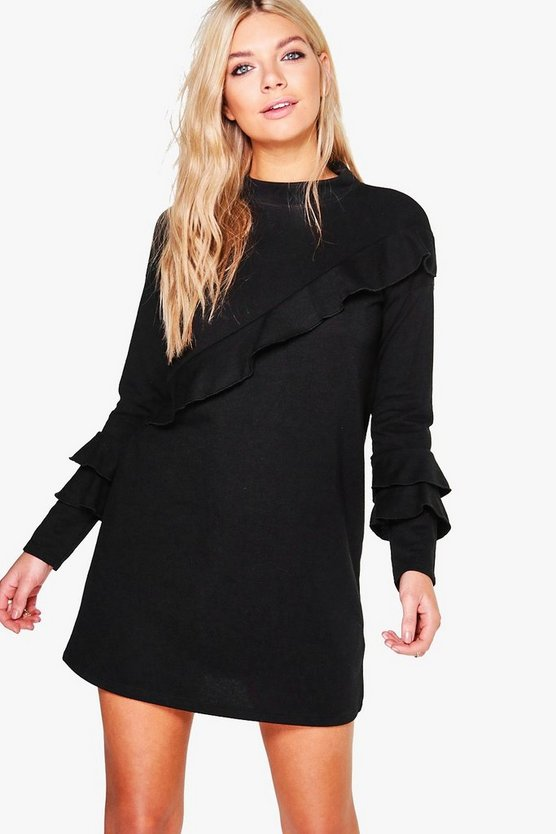Amada Ruffle Detail Sweater Dress